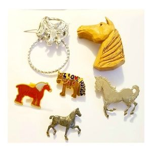Vintage Horse Lovers Scatter Pins and Brooches Set